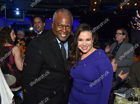 "Stock Image of Kim Estes, Gloria Calderon Kellett. Kim Estes, left, and Gloria Calderon Kellett attend the 11th Annual ""Television Academy Honors"" held at NeueHouse in Los Angeles"
