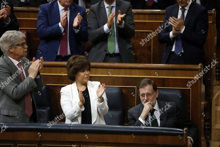 Mariano Rajoy, Soraya Saez de Santamaria and Alfonso Dastis