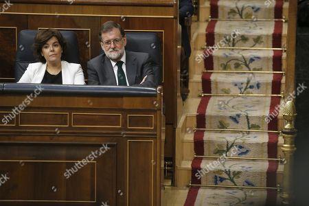 Stock Photo of Mariano Rajoy and Soraya Saez de Santamaria