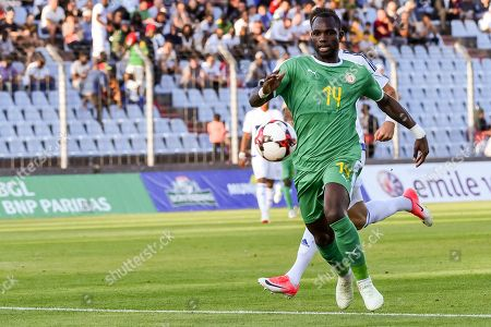 Senegal's Moussa Konate kicks the ball during a friendly soccer match between Luxembourg and Senegal at the Josy Barthel stadium in Luxembourg