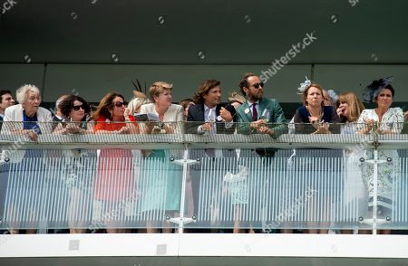 Fi Glover, Jane Garvey, Clare Balding, James Middleton and Susanna Reid watch the Investec Coronation Cup