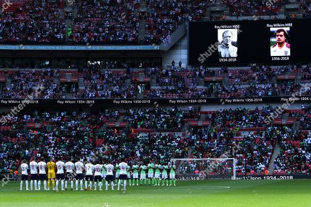 Stock Picture of The teams hold a minute's applause to mark the passing of  former England players Ray Wilson and Ray Wilkins at the England v Nigeria Friendly International match, at Wembley Stadium, on June 2, 2018.