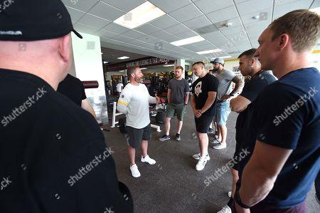 Shaun Edwards, Ryan Chambers, James Davies, Josh Turnbull, Gareth Davies and John Ashby during a visit to NFL side Washington Redskins training.