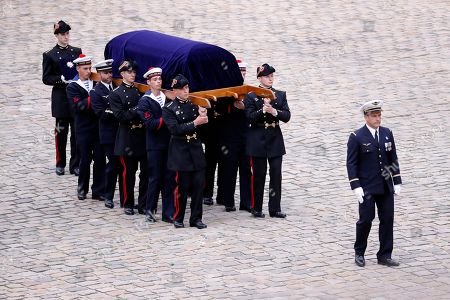 Pallbearers carry late Serge Dassault's coffin during his funeral ceremony at Saint-Louis-des-Invalides Cathedral in Paris, France, 01 June 2018. French business executive and politician Serge Dassault died on 28 May at the age of 93.