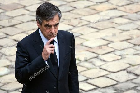 Former Prime Minister Francois Fillon attends the funeral ceremony of late Serge Dassault at Saint-Louis-des-Invalides Cathedral in Paris, France, 01 June 2018. French business executive and politician Serge Dassault died on 28 May at the age of 93.