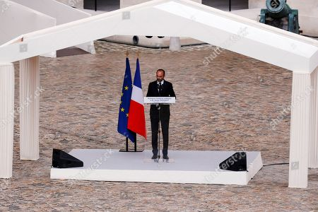 French Prime Minister Edouard Philippe delivers a speech during the funeral ceremony of late Serge Dassault at Saint-Louis-des-Invalides Cathedral in Paris, France, 01 June 2018. French business executive and politician Serge Dassault died on 28 May at the age of 93.