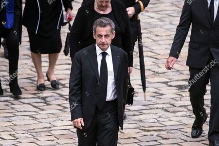 Former French President Nicolas Sarkozy attends the funeral ceremony of late Serge Dassault at Saint-Louis-des-Invalides Cathedral in Paris, France, 01 June 2018. French business executive and politician Serge Dassault died on 28 May at the age of 93.