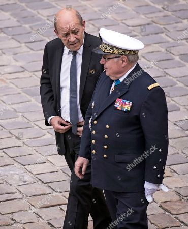 French Foreign Affairs Minister Jean-Yves Le Drian attends the funeral ceremony of late Serge Dassault at Saint-Louis-des-Invalides Cathedral in Paris, France, 01 June 2018. French business executive and politician Serge Dassault died on 28 May at the age of 93.