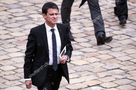 Former Prime Minister Manuel Valls attends the funeral ceremony of late Serge Dassault at Saint-Louis-des-Invalides Cathedral in Paris, France, 01 June 2018. French business executive and politician Serge Dassault died on 28 May at the age of 93.