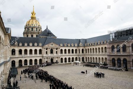 A general view of late Serge Dassault funeral ceremony at Saint-Louis-des-Invalides Cathedral in Paris, France, 01 June 2018. French business executive and politician Serge Dassault died on 28 May at the age of 93.