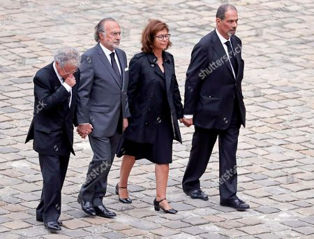 Serge Dassault's family members follow the coffin after his funeral ceremony at Saint-Louis-des-Invalides Cathedral in Paris, France, 01 June 2018. French business executive and politician Serge Dassault died on 28 May at the age of 93.