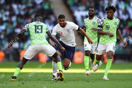 Ruben Loftus-Cheek of England looks to get past John Ogu of Nigeria - England v Nigeria, International Friendly, Wembley Stadium, London - 2nd June 2018.