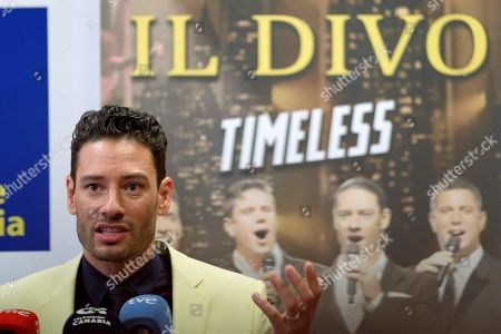 Swiss singer Urs Buhler of international vocal band 'Il Divo' attends the presentation of the band's concert at Las Palmas de Gran Canaria, Canary Islands, Spain, 01 June 2018. The band will perform for the first time in the Canary Islands on 02 June 2018.