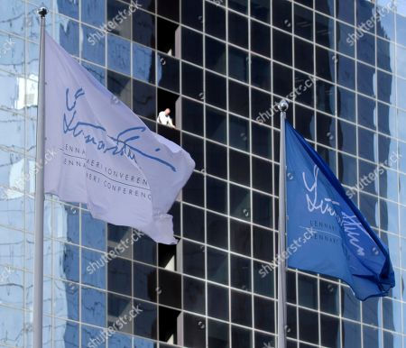 A view of flags flying opposite the Radisson Blu Sky Hotel during the 12th edition of the Lennart Meri Conference in Tallinn, Estonia, 01 June 2018. This year's Lennart Meri Conference, which is titled 'The Next Hundred Years,' runs from 01 to 03 June 2018.