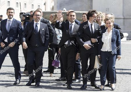 (L-R) M5S party group: Riccardo Fraccari (Relations with the Parliament), Alfonso Bonafede (Justice), deputy prime minister Luigi Di Maio, Danilo Toninelli (Infrastructure) and  Giulia Grillo (Health) arrive at Quirinale Palace in Rome, Italy, 01 June 2018. New Italian Prime Minister Giuseppe Conte accepted from President Sergio Mattarella the mandate to lead a coalition government made between the anti-establishment Five Star (M5S) and the right-wing League, ending months of political uncertainty. The new government features 18 ministers, including five women.