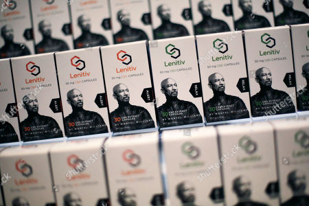 Boxes of Lenitiv, featuring a photo of Montel Williams, are on display at the Cannabis World Congress and Business Expo, in New York. The medication, made of cannabis oil, contains no THC, the psychoactive component of cannabis, according to the manufacturer