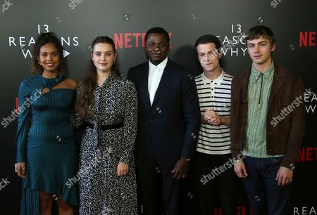 "Stock Picture of Alisha Boe, Katherine Langford, Derek Luke, Dylan Minnette, Miles Heizer. Alisha Boe, from left, Katherine Langford, Derek Luke, Dylan Minnette and Miles Heizer arrive at the ""13 Reasons Why"" FYSEE Event at the Raleigh Studios, in Los Angeles"