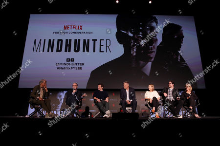 Stock Photo of Elvis Mitchell, Moderator, David Fincher, Director/Executive Producer, Jonathan Groff, Holt McCallany, Anna Torv, Cameron Britton, Laray Mayfield, Casting Director,