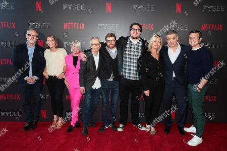 Stock Picture of David Fincher, Director/Executive Producer, Anna Torv, Jennifer Starzyk, Costume Designer, Steve Arnold, Production Designer, Erik Messerschmidt, Cinematographer, Cameron Britton, Laray Mayfield, Casting Director, Holt McCallany, Jonathan Groff