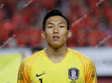 South Korea's Kim Seung-gyu lines up before a friendly soccer match between South Korea Bosnia and Herzegovina at Jeonju World Cup Stadium in Jeonju, South Korea