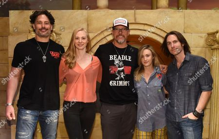 """IMAGE DISTRIBUTED FOR DUNGEONS & DRAGONS - From left, Joe Manganiello, Deborah Ann Woll, Matthew Lillard, Ashley Johnson and Matthew Mercer help unveil the new Dungeons & Dragons storyline, """"Waterdeep: Dragon Heist"""" during a live streaming event at the Line 204 Studios on in Los Angeles"""