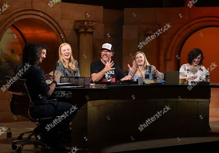 """IMAGE DISTRIBUTED FOR DUNGEONS & DRAGONS - From left, Matthew Mercer, Joe Manganiello, Deborah Ann Woll, Matthew Lillard, Ashley Johnson and Kate Welch help unveil the new Dungeons & Dragons storyline, """"Waterdeep: Dragon Heist"""" during a live streaming event at the Line 204 Studios on in Los Angeles"""