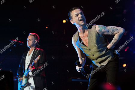 Dave Gahan, Martin Gore. Martin Gore, left, and Dave Gahan of Depeche Mode perform at the United Center, in Chicago