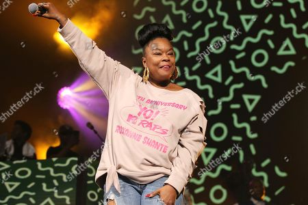 Stock Image of Rapper Roxanne Shante performs at the Yo! MTV Raps: 30TH Anniversary Experience at the Barclays Center, in New York