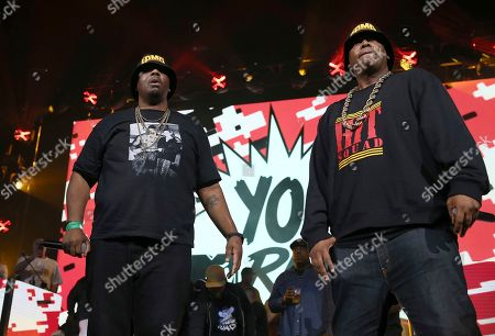 Parrish Smith, Erick Sermon. Rappers Erick Sermon and Parrish Smith of EPMD perform at the Yo! MTV Raps: 30TH Anniversary Experience at the Barclays Center, in New York