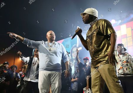 Stock Photo of Fat Joe, KRS-One. Rappers Fat Joe and KRS-One perform at the Yo! MTV Raps: 30TH Anniversary Experience at the Barclays Center, in New York