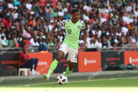 Nigeria Shehu Abdullahi (12) controlling the ball during the Friendly International match between England and Nigeria at Wembley Stadium, London. Picture by Matthew Redman