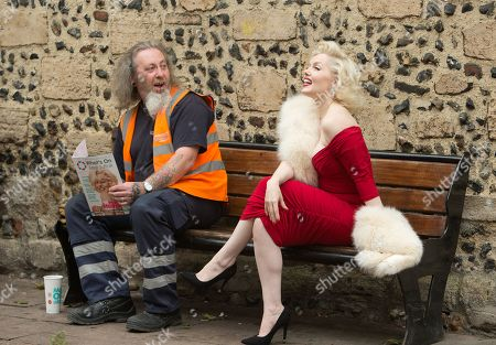 Graham Silcock a refuse collector for St Edmundsbury Borough Council gasps as he realises he is seated beside the world's leading Marilyn Monroe tribute artist, Suzie Kennedy before she opened the 'Timeless' exhibition at Moyses Hall, Bury St Edmunds