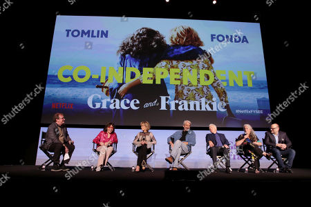 Stock Image of Pete Hammond, Moderator, Lily Tomlin, Jane Fonda, Sam Waterston, Martin Sheen, Marta Kauffman, Creator/Executive Producer, Howard J. Morris, Creator/Executive Producer,