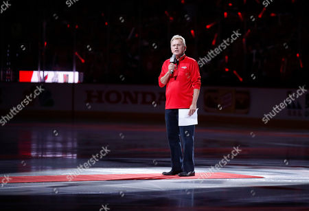 Entertainer Pat Sajak, a Washington Capitals season ticket holder, introduces the players for the Capitals and the Vegas Golden Knights before Game 3 of the NHL hockey Stanley Cup Final, in Washington