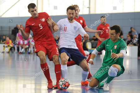 Robert Gladczak of Poland and Richard Ward of England during England vs Poland, International Futsal Friendly at St George's Park on 2nd June 2018