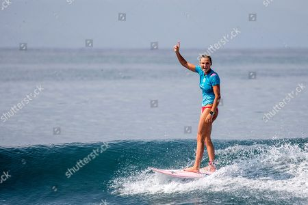 Lakey Peterson of the USA celebrates after winning the finals of the Corona Bali Protected surfing event as part of the World Surf League Championship Tour in Keramas, Bali, Indonesia, 03 June 2018.