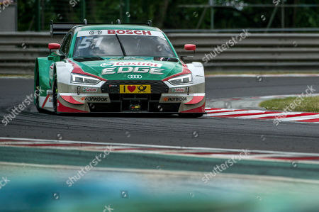 Switzerland's Nico Mueller of Audi  is on his way to capture the third place during the first heat of the Hungarian round of the German Touring Car Masters, DTM, on the Hungaroring circuit in Mogyorod, 23 kms north-east of Budapest, Hungary, 02 June 2018.