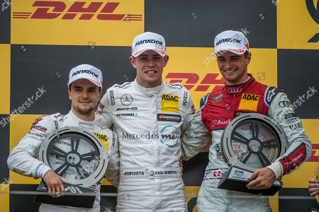 First placed Paul Di Resta (C) of Great Britain, second placed Lucas Auer (L) of Austria, both of Mercedes and third placed Nico Mueller of Switzerland of Audi pose on the podium after the first heat of the Hungarian round of the German Touring Car Masters, DTM, on the Hungaroring circuit in Mogyorod, 23 kms north-east of Budapest, Hungary, 02 June 2018.