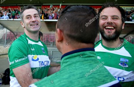 Fermanagh vs Monaghan. Fermanagh manager Rory Gallagher celebrates at the final whistle