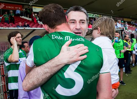 Fermanagh vs Monaghan. Fermanagh manager Rory Gallagher, his son Seanie celebrate with Che Cullen after the game