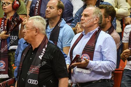 president Uli Hoeness and Martin Winterkorn , FC Bayern Muenchen Basketball vs Alba Berlin, Basketball, Finale,Spiel 1, 03.06.2018