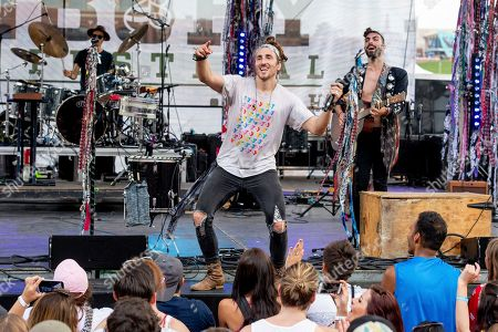 Stock Image of Austin Bisnow of Magic Giant performs at the Bunbury Music Festival, in Cincinnati