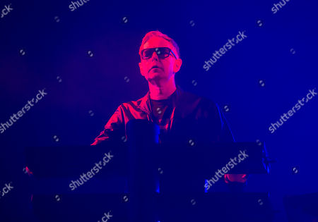 "Andy Fletcher of the band Depeche Mode performs in concert during their ""Global Spirit Tour"" at The Wells Fargo Center, in Philadelphia"