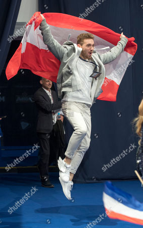 Nathan Trent The Eurovision Entrant For Austria Qualifies For The Grand Final At The Second Semi Final Of The Eurovision Song Contest 2017 At The International Exhibition Centre Forkiev Ukraine.