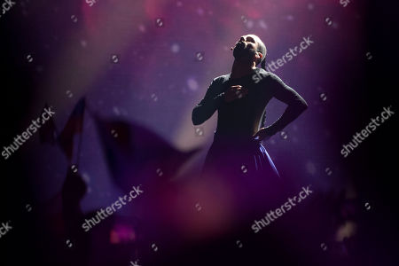 Slavko Kalezic The Eurovision Entrant For Montenegro Performs On Stage In The First Semi-final Of The Eurovision Song Contest 2017.