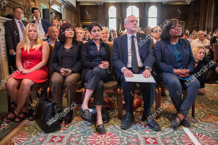 Stock Picture of Pictured-corbyn's Wife Laura Alvarez Shami Chakrabarti And Diane Abbot With Corbyn. Jeremy Corbyn Has Resumed His Election Campaign With A Speech In Westminster Today Friday 29th May 2017 Saying The Current Terror Threat Is Linked To The Wars On Terror Abroad. One George Street Westminster.