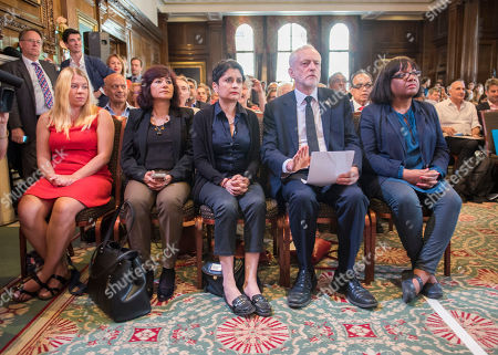 Stock Image of Pictured-corbyn's Wife Laura Alvarez Shami Chakrabarti And Diane Abbot With Corbyn. Jeremy Corbyn Has Resumed His Election Campaign With A Speech In Westminster Today Friday 29th May 2017 Saying The Current Terror Threat Is Linked To The Wars On Terror Abroad. One George Street Westminster.