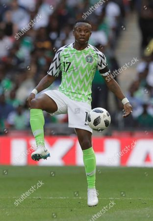Nigeria's Ogenyi Onazi during a friendly soccer match between England and Nigeria at Wembley stadium in London