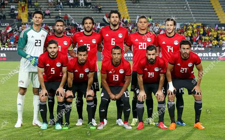 From top left: Egypt's Mohamed Elshenawy, Ahmed Fathi, Marwan Mohsen, Ahmed Hegazi, Saad Samir, Ramadan Sobhy, from bottom left: Egypt's Samy Moursy, Tarek Hamed, Mohamed Abdelshafy, Abdalla Elsaeid, Treziguet pose prior to the start of the friendly soccer match between Egypt and Colombia in Bergamo, Italy