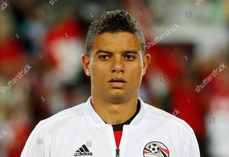 Egypt's Saad Samir stands prior to the start of a friendly soccer match between Egypt and Colombia in Bergamo, Italy